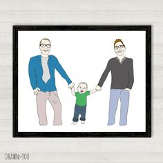 Custom illustration of Mark, Eric and baby Nolen