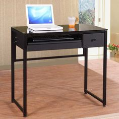 This Metal And Glass Industrial Style Computer Desk Features A Black Glass  Top, Keyboard Tray, Pencil Drawer And One Storage Drawer.
