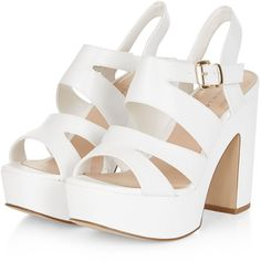 Wide Fit White Platform Block Heels (€15) ❤ liked on Polyvore featuring shoes, pumps, heels, sandals, zapatos, white shoes, block heel pumps, open toe ankle strap pumps, ankle strap pumps and platform pumps