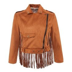 Fringed Suede Crop Jacket ($36) ❤ liked on Polyvore featuring outerwear, jackets, brown cropped jacket, flap jacket, fringe jacket, brown suede jacket and zip jacket