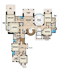 Mediterranean Style House Plan - 6 Beds 8.5 Baths 10178 Sq/Ft Plan #27-279 Floor Plan - Upper Floor Plan - Houseplans.com