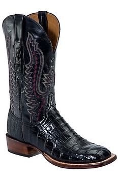 Lucchese Cowboy Collection Men's Black Croc Belly Exotic Square Toe Boots-possible boots for Clint