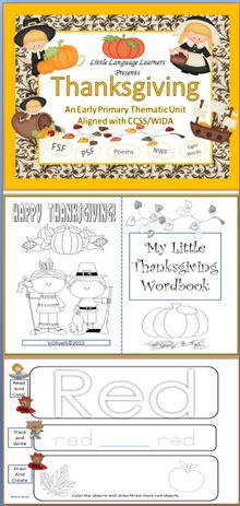 This unit uses the theme of thanksgiving to teach all areas of instruction in the early primary grades. Expose your students to the concepts and vocabulary of the Thanksgiving holiday while teaching math, rhyme, sight words, first sound fluency, phonemic sound fluency, nonsense word fluency, and letter name fluency. Concept poems about the first Thanksgiving are provided with complimenting activities. There are over 107 slides in this jumbo unit.