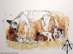 Litter of painted dogs with their aunty, puppies, african wildlife, wild dogs, pups, desert, africa