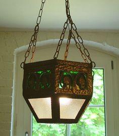 Antike Decken Hänge Lampe LATERNE FerForge orig. um 1900