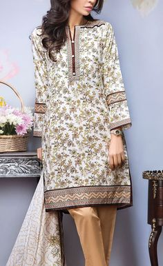 Buy Off-White/Beige Printed Cotton Lawn Dress by Alkaram 2016