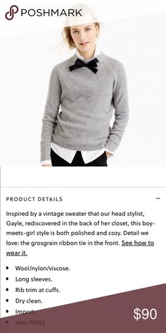 J.crew gayle tie-neck sweater Super sought after, but sadly it doesn't look good on me.  Brand new with tag, only tried one. Looking to recoup what I paid + 20% posh fees, please no negative comments on the list price, thanks! J. Crew Sweaters Crew & Scoop Necks