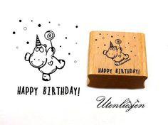 Nilpferd, Konfetti, Schriftzug Happy Birthday