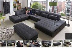 Wohnlandschaft Lomo | Das große Sofa in U-Form bieten sagenhaft viel Platz zum gemütlichen Relaxen und Entspannen. Zeitlos modern zeigt es sich in Grau-Schwarz. #MoebelLETZ