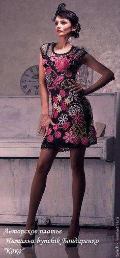 """Платье крючком из микрофибры """"Коко"""", ручная работа - цветочный,платье крючком"""
