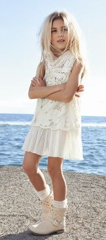 spring summer tween look 2015 Little Girl Outfits, Cute Outfits For Kids, Little Girl Fashion, Children Outfits, Fashion Kids, White Summer Outfits, Look 2015, Little Fashionista, Stylish Kids