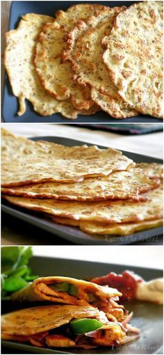 """GF Tortillas 1/4 cup plus 2tablespoons water 2 eggs 2 tablespoons olive oil 1½ tablespoons coconut flour 2 tablespoons almond flour ½ tablespoon of ground flax seed ¼ teaspoon baking powder  In a medium to large frying pan heat several tablespoons of olive oil over medium high heat. When the oil is hot pour 1/4 cup of batter in the pan, tilting the pan so the batter spreads thinly.     Cook the batter for about 2min until it is slightly """"toasted"""" looking. Flip the tortilla and fry for 2 more…"""