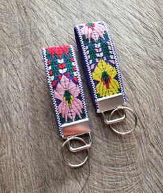 Florals Key Fob~ on  Shades of Red~Key Chain~Wristlet~camera strap