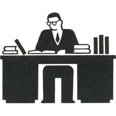 Gerd Arntz worker at desk
