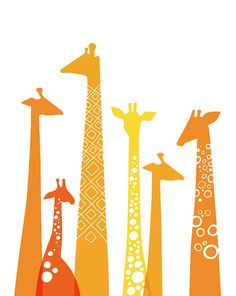 giraffes giclee print on fine art paper. 5X7. orange & yellow. on Etsy, $8.00