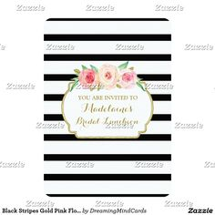 Shop Black Stripes Gold Pink Floral Bridal Lunch Invitation created by DreamingMindCards. Vintage Wedding Invitations, Bridal Shower Invitations, Custom Invitations, Bridesmaid Luncheon, Bridal Luncheon, Lunch Invitation, Invite, White Bridal Shower, Pink Watercolor