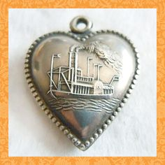Vintage 1940's riverboat steamboat puffy heart sterling charm