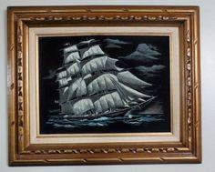 Black Velvet Painting $85 by ThriftHorseInc on Etsy