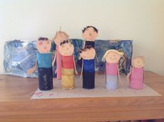 Family portrait using toilet paper rolls allowing the student to make a 3D project. 4 year old  SE.5.112 Draw pictures of their family.  SE.5.113 Ask questions about families