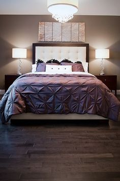 Evergreen Luxury Custom Home Build, Interior Design, as seen in Spaces magazine. Royal Purple Bedrooms, Purple Master Bedroom, Purple Bedroom Design, Girl Bedroom Designs, Bedroom Paint Colors, Living Room Designs, Bedroom Pictures, Bedroom Images, Luxurious Bedrooms