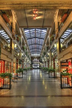 The Grove Arcade in downtown Asheville, NC, features lots of great shops and restaurants. It is located in one of the most popular areas in downtown. Just the interior of the building is amazing.