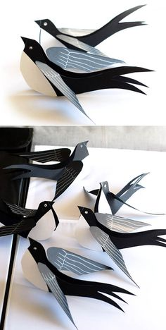 DIY Ideas With Cardboard – Black Cardboard Swallow – How To Make Room Decor Crafts for Kids – Easy and Crafty Storage Ideas For Room – Toilet Paper Roll Projects Tutorials – Fun Furniture Ideas with Cardboard – Cheap, Quick and Easy Wall Decorations Bird Crafts, Animal Crafts, Decor Crafts, Diy Paper, Paper Crafts, Paper Toys, Art For Kids, Crafts For Kids, Kids Diy