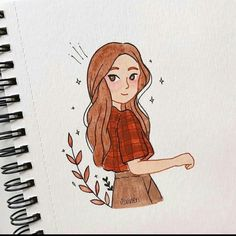 Girl Drawing Sketches, Girly Drawings, Pencil Art Drawings, Cool Art Drawings, Cartoon Drawings, Drawing Drawing, Cartoon Kunst, Illustration Inspiration, Arte Sketchbook