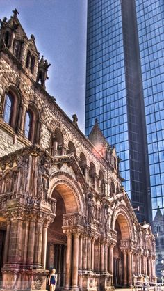 Boston- Copley Square- Trinity Church with the newer Hancock Tower in the background