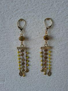 Boucles d'oreilles pendantes - collection printemps - bijou créateur : Boucles d'oreille par les-fils-des-temps-creations