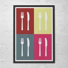 "KITCHEN WALL ART - Minimalist Kitchen Poster Giclee Art Print Ikea Ribba ""Fork & Knife"" Kitchen Poster Cooking Poster Cutlery Wall Art"
