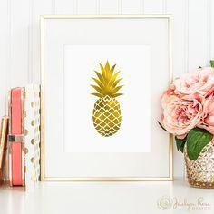 Faux gold foil pineapple, printable wall art decor, minimalist art, faux gold foil, art for office or bedroom, digital download JPG