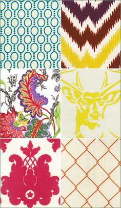 StaceAge Fabric, Retro, Trendy Fabrics, Pink, Orange, Teal, Blue, Yellow, deer head, diamond pattern, damask