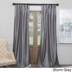 Exclusive Fabrics Signature Pinch Pleated Blackout Solid Faux Silk Curtain Panel Peacock 108L Silver