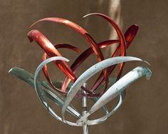 COUNTER REVOLVING ROSE - RED/VERDI PATINA - Mark White, wind art