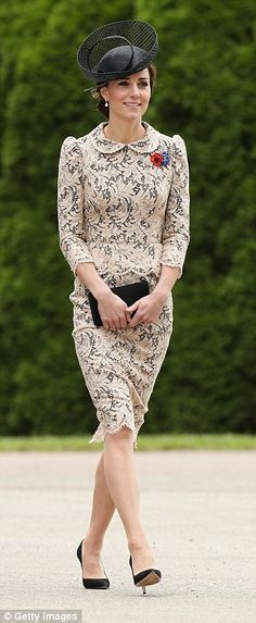 Burda Patterns Kate Middleton wore a bespoke lace peplum dress with a black underlay and Peter Pan collar. The lace is by Sophie Hallette, a renowned . Kate Middleton Outfits, Style Kate Middleton, Princesa Kate Middleton, Duchesse Kate, Lace Peplum Dress, The Duchess, Style Royal, Kate And Meghan, Clothing Staples