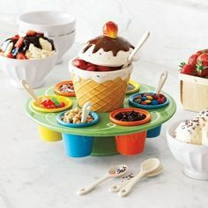 $59.95  Ceramic Ice Cream Toppings Caddy - amuseful - amusing useful stuff
