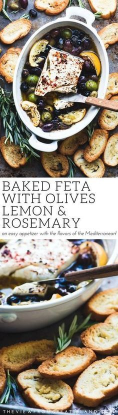 Baked Feta Cheese with Olives, Lemon and Rosemary Baked Feta Cheese with Olives and Lemon ~ an easy baked cheese appetizer that shows off the spectacular sun drenched flavors of the Mediterranean. Serve it with some toasted bread and watch it disappear! Cheese Appetizers, Yummy Appetizers, Appetizers For Party, Appetizer Recipes, Shrimp Appetizers, Dessert Recipes, Lemon Recipes, Greek Recipes, Dip Recipes
