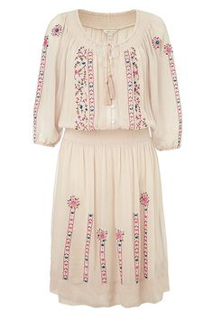 "Get the look: cream embroidered dress long sleeves. Woohoo!!! The UK's Guardian shows how to dress ""folk luxe"" - yea, its coming back after a long absence!"