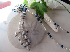 Great gatsby necklace Pearl tassel necklace Denim by Inspiredby10
