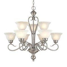 Millennium Lighting Devonshire 9-Light Satin Nickel Chandelier. @Lowes #Lighting #DiningRoom