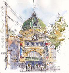 Doodlewash and watercolor urban sketch by Chris Haldane of Finder's St. Station in Melbourne Australia