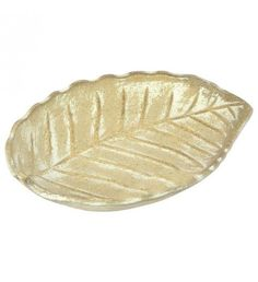 WOODEN LEAF PLATE IN BEIGE COLOR 12X13X4