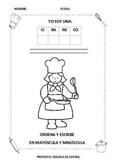 """Proyecto """"Escuela de cocina"""", fichas y otros recursos Teacher, Comics, English, Master Chef, Club, Sorting Activities, School Projects, Cooking School, Recipes For Children"""