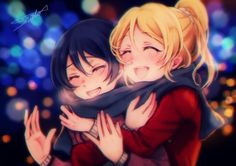 Anime picture  1457x1032 with   love live! school idol project  sunrise (studio)  ayase eli  sonoda umi  tagme (artist)  long hair  blush  open mouth  blonde hair  smile  fringe  multiple girls  blue hair  ponytail  eyes closed  signed  hair between eyes  night  hug  happy