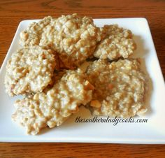 This recipe for no bake cookies uses peanut butter instead of chocolate. This is a wonderful twist on the no bake cookie classic!