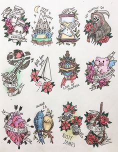 tattoo flash for ¡UNO! by green day