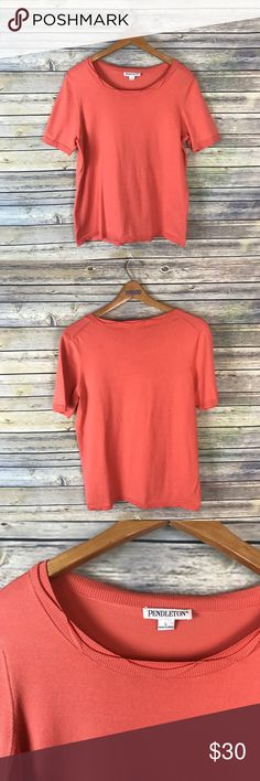 """Pendleton Coral Orange Scalloped Short Sleeve Top Super cute short sleeve coral/orange colored sweater. Silk/nylon/cotton blend. In gently used condition, but does have a small spot on the back (light smudge). Please see photos.  Measurements laying flat (without stretching)-- -Armpit to armpit: 20"""" -Length, shoulder to hem: 23.5"""" Pendleton Sweaters"""