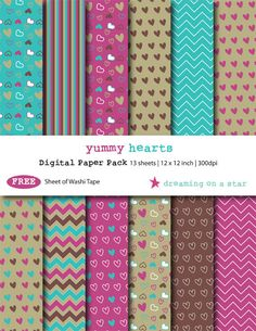 SALE Hearts Digital Scrapbook Paper, Hearts Scrapbook, Cute Scrapbook, Digital Scrapbook, Pretty Scrapbook, Free Washi Tape, Commercial Use