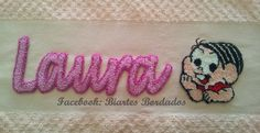 Toalha de Banho bordada em Ponto Russo - Facebook: Biartes Bordados
