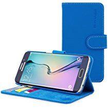 英国Snugg社 Galaxy S7 Edge用 PUレザー手帳型ケース 生涯補償付き(Samsung Galaxy S7 Edge用, エレクトリックブルー)
